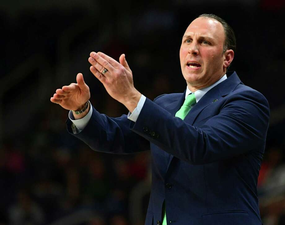 Siena's head coach Carmen Maciariello communicates to his players from the sideline during a basketball game against St. Bonaventure at the Times Union Center on Tuesday, Nov. 12, 2019 in Albany, N.Y. (Lori Van Buren/Times Union) Photo: Lori Van Buren, Albany Times Union / 40048104A