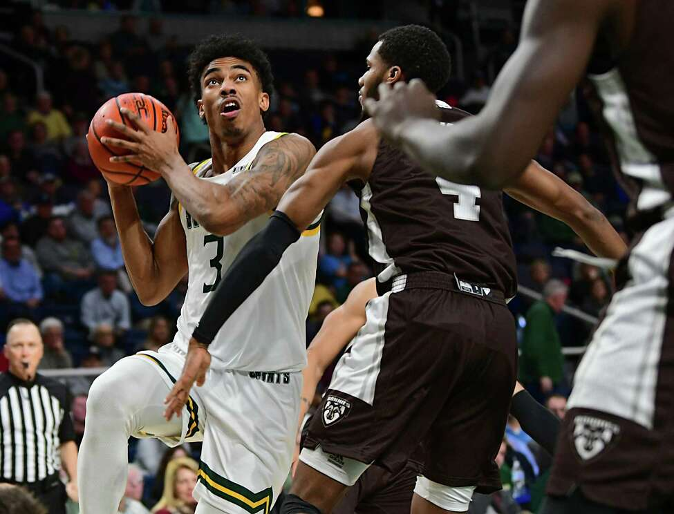 Siena's Manny Camper takes a shot during a basketball game against St. Bonaventure at the Times Union Center on Tuesday, Nov. 12, 2019 in Albany, N.Y. (Lori Van Buren/Times Union)