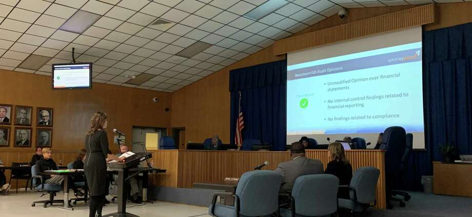 Beaumont ISD received a check for $50,000 and reviewed their yearly audit at their monthly board meeting on Tuesday. Photo: Isaac Windes