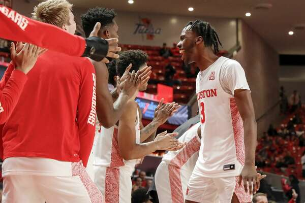 Houston Cougars guard DeJon Jarreau (3) is congratulated by teammates during second half of the NCAA basketball game between the Houston Cougars and the Alabama State Hornets at the Fertitta Center in Houston, TX on Tuesday, November 12, 2019.