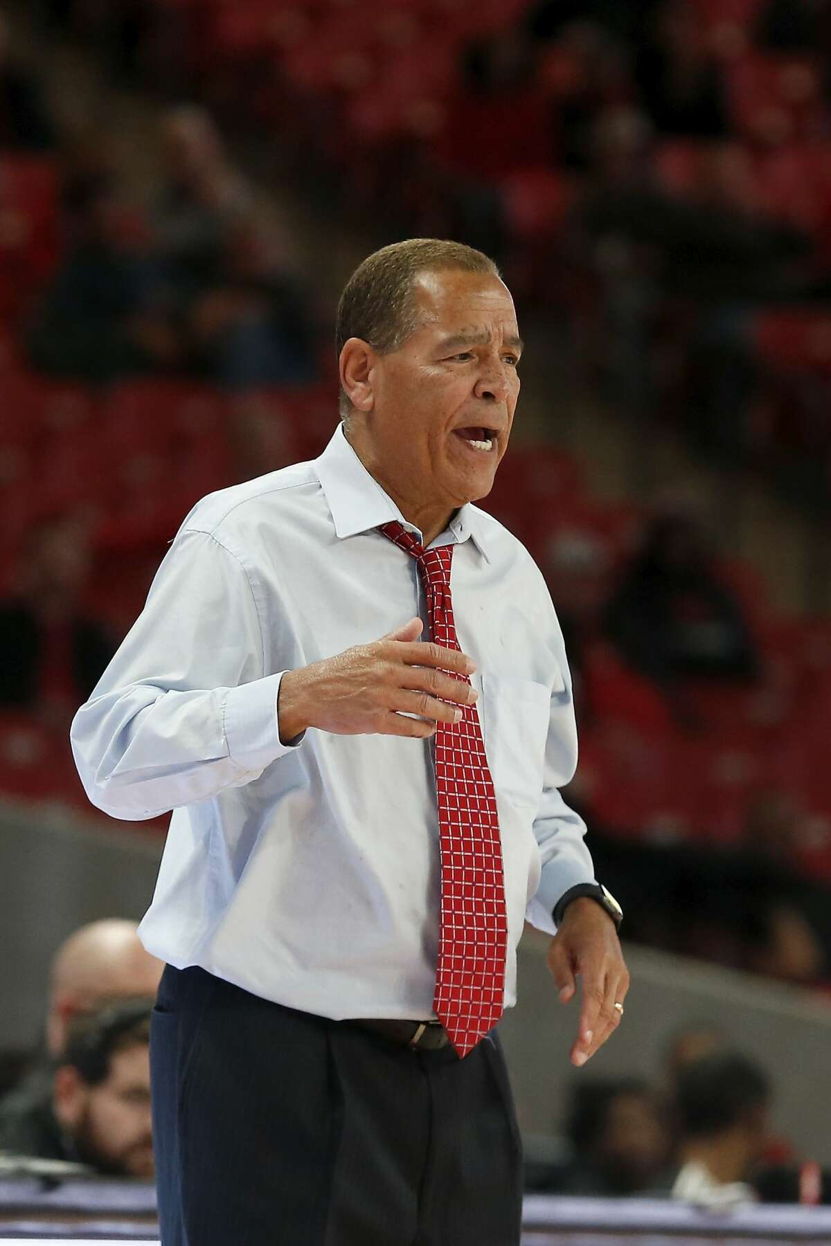 Houston Cougars head coach Kelvin Sampson reacts during second half of the NCAA basketball game between the Houston Cougars and the Alabama State Hornets at the Fertitta Center in Houston, TX on Tuesday, November 12, 2019.