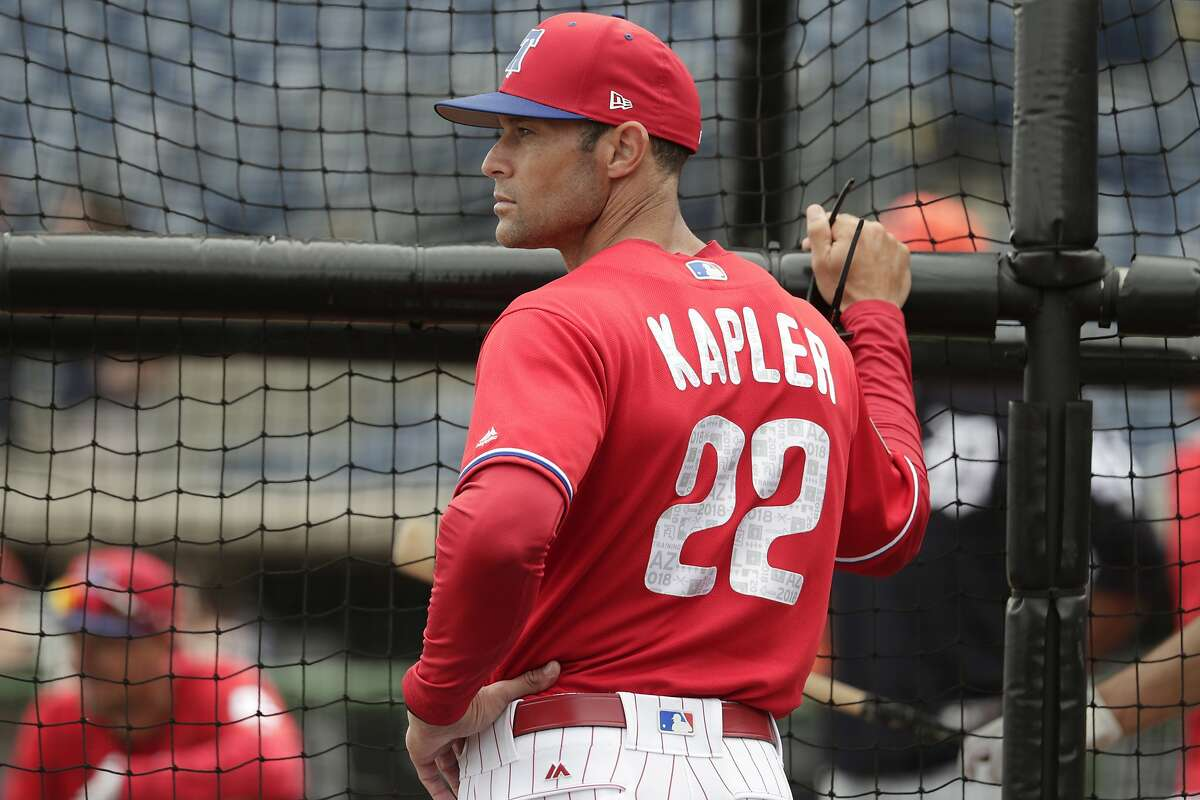 Gabe Kapler, then manager of the Phillies, watches batting practice before a spring exhibition game against the Detroit Tigers on Feb. 27, 2018.