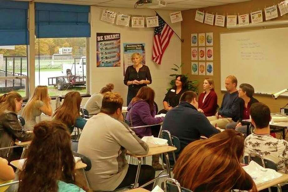 Area professionals talk with Benzie Central and Frankfort students about potential careers at the Benzie Sunrise Rotary's career expo in October. (Courtesy Photo/Valerie Gerhart)