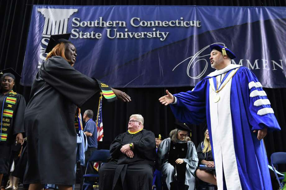 Southern Connecticut State University is one of four schools in the state that have both low rates of graduation for first-time, full-time students and charge an exceptionally high amount to low-income students compared to national peer schools, according to a new study. Photo: Arnold Gold / Hearst Connecticut Media / New Haven Register