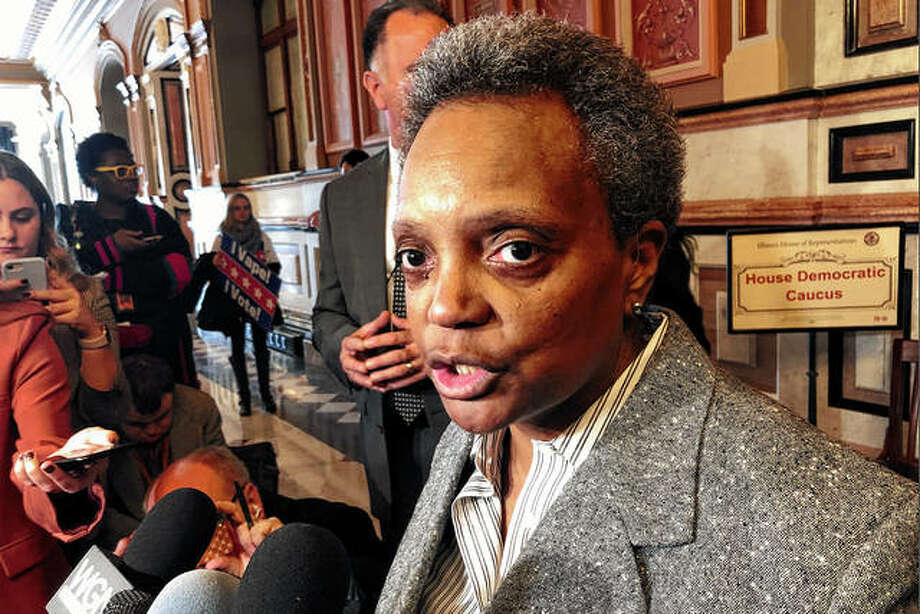 Chicago Mayor Lori Lightfoot talks to reportersTuesday after meeting with House Democrats for an hour at the state Capitol in Springfield. Lightfoot is seeking a break on proposed taxes on a planned Chicago casino to attract developers and wants the Legislature's help on plugging a city budget hole. Photo: John O'Connor | Associated Press