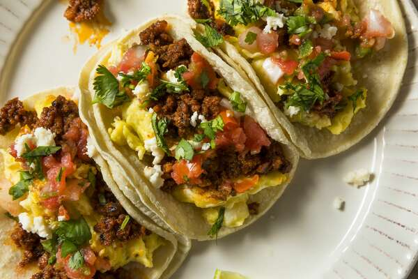 Homemade Chorizo Breakfast Tacos with PIco and Cilantro