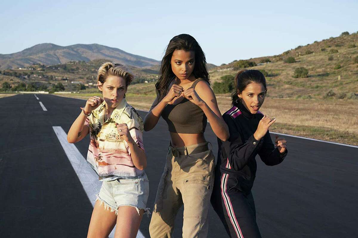 "(L-R) Kristen Stewart, Ella Balinska, and Naomi Scott in ""Charlie's Angels."" (Merie Weismiller Wallace/CTMG, Inc.)"