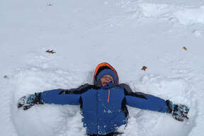 """""""Enjoying his first snow day!! Spent many hours outside playing today! Raymond Maycock."""" Lauren Welsh Maycock"""