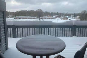 """""""Even have the patio railing to give an accurate measurement of how many inches we got over the past 14+ hours!"""" Nick Zacek"""