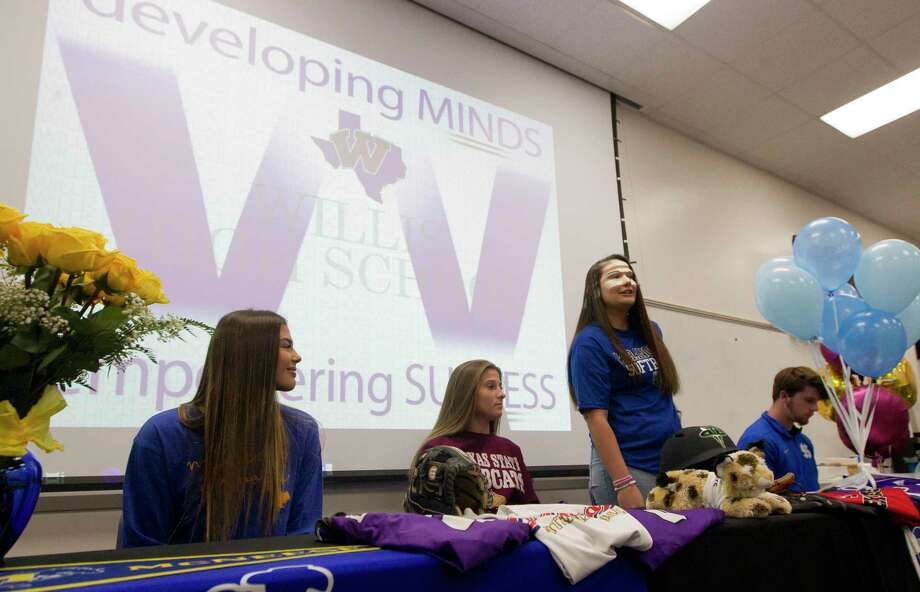 Willis softball player Madison Matranga acknowledges her parents during a National Signing Day ceremony at Willis High School, Wednesday, Nov. 13, 2019, in Willis. Matranga signed to play softball for Odessa College, while teamamtes Ashley Vallejo and Hannah Earls signed with McNeese State and Texas State. Baseball player Mason Creacy signed to play baseball for Murray State. Photo: Jason Fochtman, Houston Chronicle / Staff Photographer / Houston Chronicle