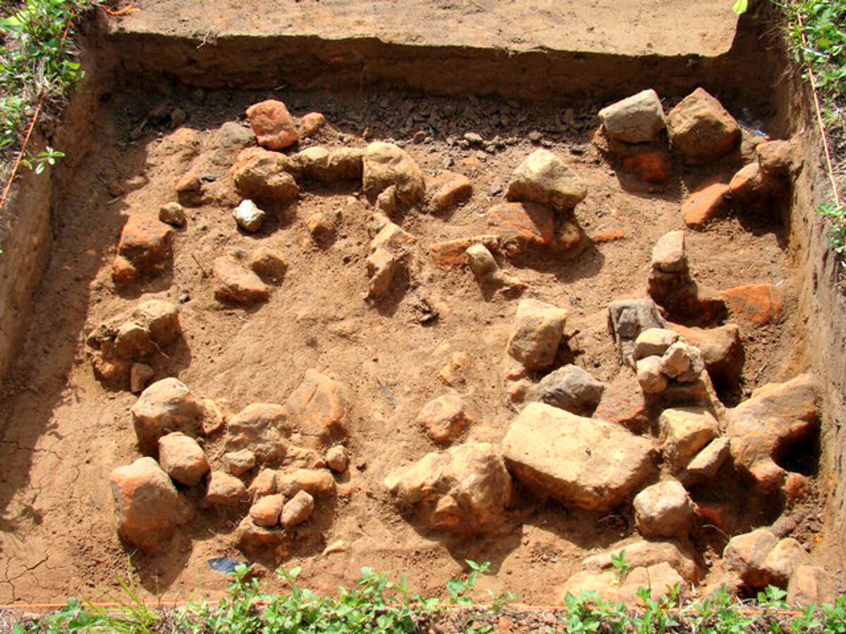 One of the first units opened in the search for the Farmer's Hotel cellar uncovered this extensive field of brick rubble that helped archeologists find more substantive, in-place brick remains. The structure was the residence of merchant Joseph Urban at the time of the town's burning.