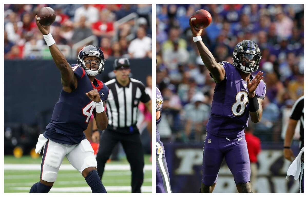 QBs Deshaun Watson and Lamar Jackson are preparing to face each other for the first time in the NFL on Sunday at M&T Bank Stadium.