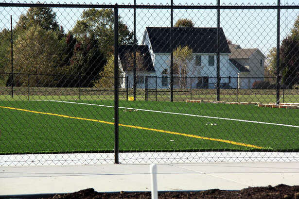 A view of the northernmost synthetic soccer field at the park. There are two additional synthetic soccer fields adjancent to this one.