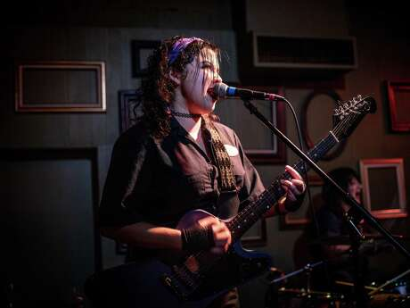 """Fea guitarist Sofi Lopez performs onstage during an album release part for """"No Novelties"""" at The Bang Bang Bar."""