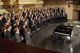 The Yale Glee Club on stage.
