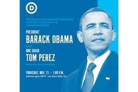 Former U.S. President Barack Obama will appear for a conversation with DNC Chair Tom Perez on Nov. 21 for a fund-raiser at the Los Altos home of Democratic donor Karla Jurvetson.