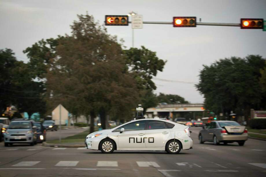 A Nuro delivery vehicle completes training routes in the Meyerland neighborhood of Houston early this month. Photo: Photo For The Washington Post By Annie Mulligan. / Annie Mulligan