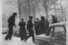 Officials outside scene of Thomas McAvoy shooting in Albaby, New York. January 29, 1964 (Times Union Archive)