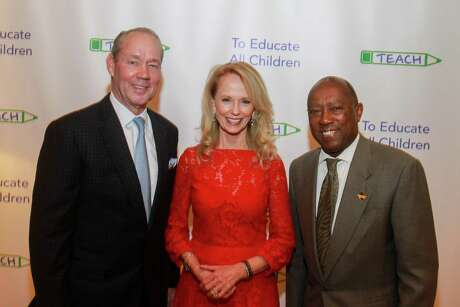 EMBARGOED FOR SOCIETY REPORTER UNTIL NOV. 15 Jim Crane, from left, Susan Sarofim and Mayor Sylvester Turner at Grand Slam for TEACH at River Oaks Country Club on November 12, 2019.