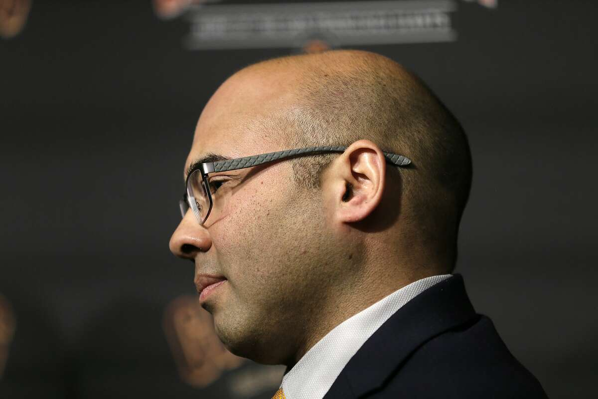 San Francisco Giants President of Baseball Operations Farhan Zaidi during a news conference at Oracle Park Monday, Nov. 11, 2019, in San Francisco. The Giants hired Scott Harris from the Chicago Cubs to become general manager, filling a void of more than a year after the club had gone without a GM during president of baseball operations Farhan Zaidi's first season in the position.(AP Photo/Eric Risberg)