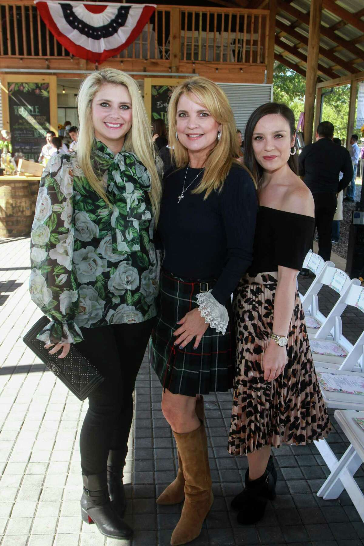 Christine Falgout Gutknecht, from left, Melissa Juneau and Jordan Holman at Recipe for Success Houston's Fashion in the Fields