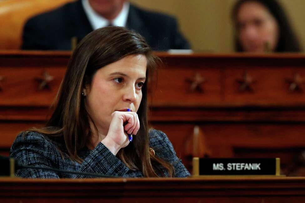Rep. Elise Stefanik, R-N.Y., listens to the testimony of top U.S. diplomat in Ukraine William Taylor, and career Foreign Service officer George Kent, before the House Intelligence Committee on Capitol Hill in Washington, Wednesday, Nov. 13, 2019, during the first public impeachment hearing of President Donald Trump's efforts to tie U.S. aid for Ukraine to investigations of his political opponents.