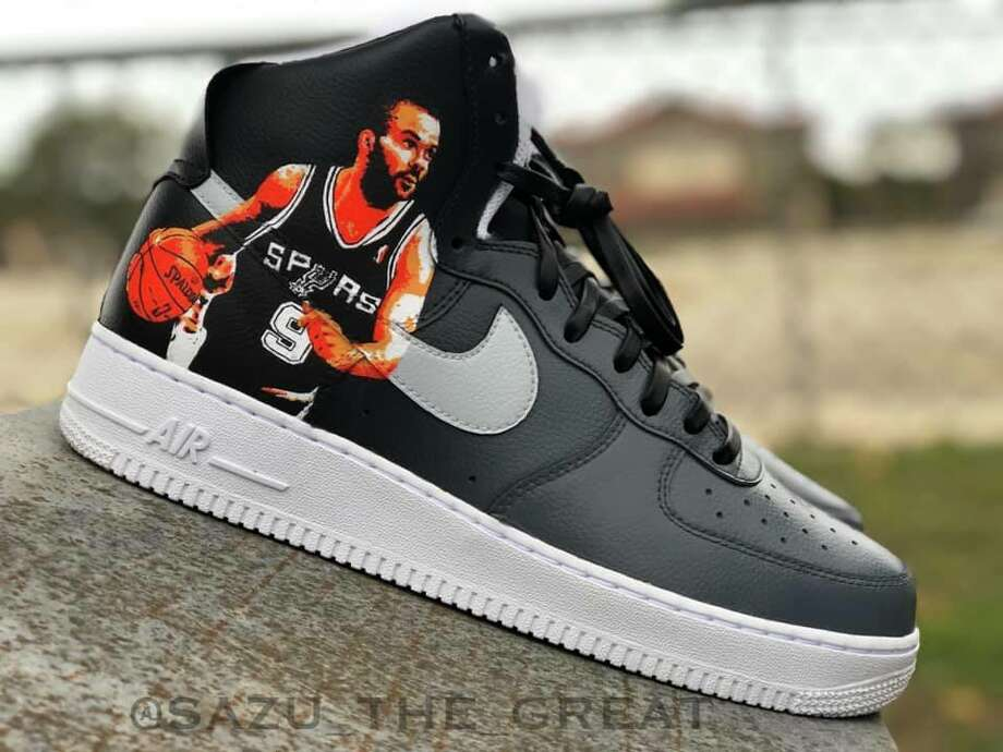 "Saul ""Sazu"" Guevara is a 24-year-old self-taught artist who customizes shoes inspired by an array of interests including the Spurs. He has transformed Air Force Ones to pay homage to each member of The Big Three with a pair of Tony Parker shoes as his latest. Photo: Courtesy, Saul Guevara"