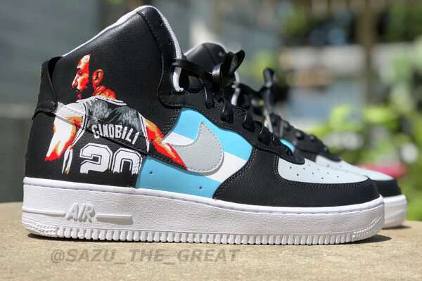 "Saul ""Sazu"" Guevara is a 24-year-old self-taught artist who customizes shoes inspired by an array of interests including the Spurs. He has transformed Air Force Ones to pay homage to each member of The Big Three with a pair of Tony Parker shoes as his latest."