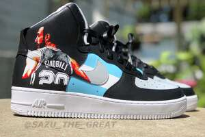 """Saul """"Sazu"""" Guevara is a 24-year-old self-taught artist who customizes shoes inspired by an array of interests including the Spurs. He has transformed Air Force Ones to pay homage to each member of The Big Three with a pair of Tony Parker shoes as his latest."""