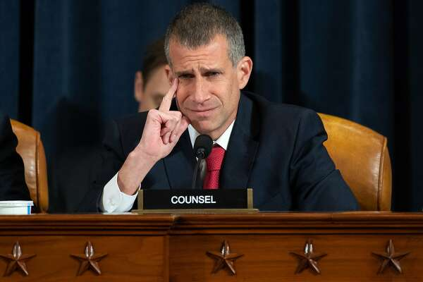 WASHINGTON, DC - NOVEMBER 13: Republican Counsel Steve Castor questions witnesses during the first public hearings held by the House Permanent Select Committee on Intelligence as part of the impeachment inquiry into U.S. President Donald Trump on Capitol Hill November 13, 2019 in Washington, DC. In the first public impeachment hearings in more than two decades, House Democrats are trying to build a case that President Donald Trump committed extortion, bribery or coercion by trying to enlist Ukraine to investigate his political rival in exchange for military aide and a White House meeting that Ukraine President Volodymyr Zelensky sought with Trump. (Photo by Saul Loeb - Pool/Getty Images)