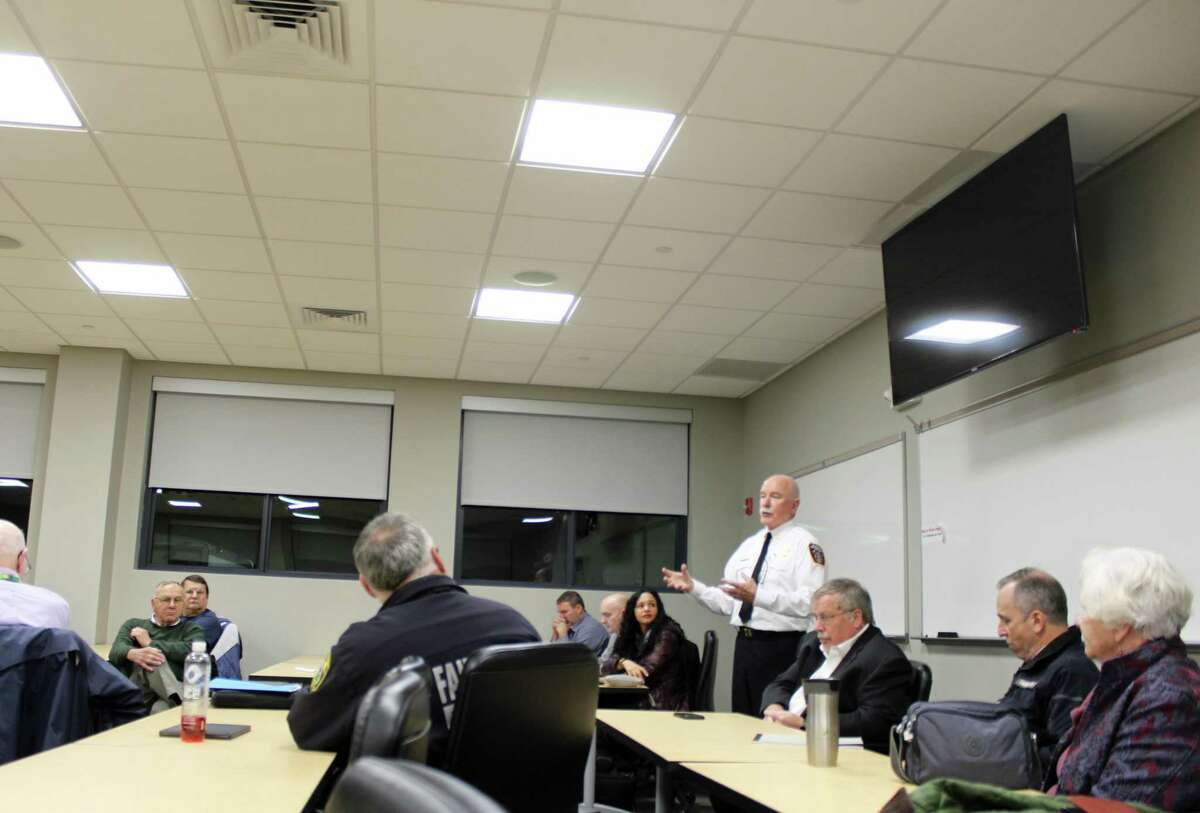 Fairfield Fire Chief Denis McCarthy spoke at Tuesday's public hearing.