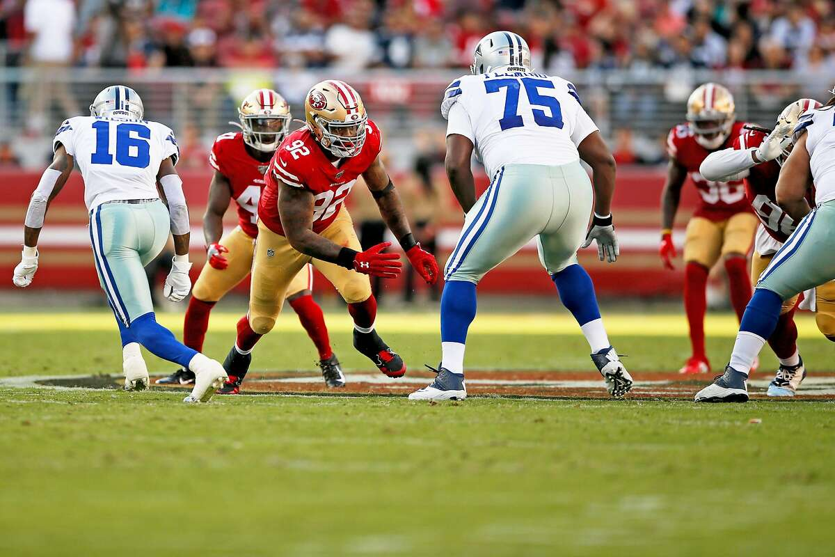 San Francisco 49ers linebacker Damontre Moore (92) against Dallas Cowboys offensive tackle Cameron Fleming (75) during an NFL preseason game at Levi's Stadium on Saturday, Aug. 10, 2019, in Santa Clara, Calif.