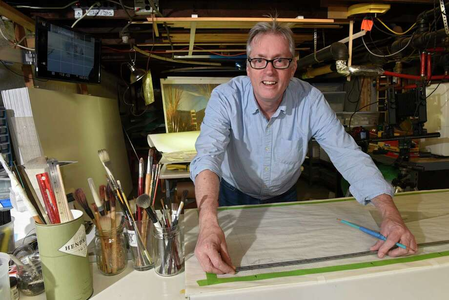 Artist Ken Ragsdale in his basement studio at his home on Thursday, Nov. 7, 2019 in Albany, N.Y. (Lori Van Buren/Times Union) Photo: Lori Van Buren / 40048215A