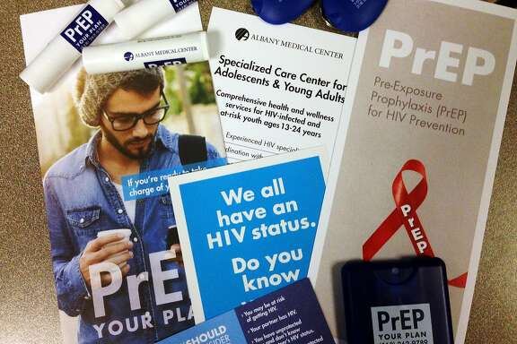 A view of some of the materials that are being handed out through Albany Medical Center dealing with a medication for people who are at high risk for contracting HIV.  Photo taken on Monday, Nov. 30, 2015, at the Times Union in Colonie, N.Y.   (Paul Buckowski / Times Union)