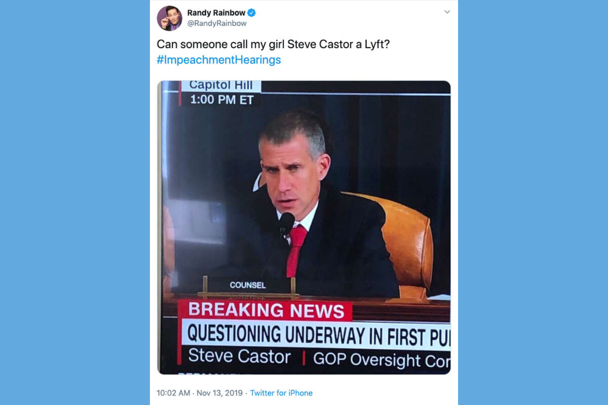 Twitter reactions to Stephen Castor, the GOP lawyer acting as counsel in the first public hearing of President Trump's impeachment.