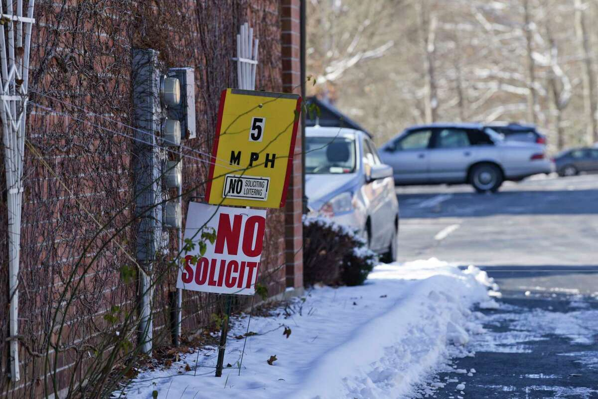 A view of signs at a vehicle entrance to the Mohican Hills apartments on Wednesday, Nov. 13, 2019, in Ballston Spa, N.Y. (Paul Buckowski/Times Union)