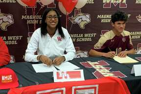 Magnolia West basketball player Kamryn Jones, left, and soccer player Jeremias Gonzalez celebrated their college signings on Wednesday.
