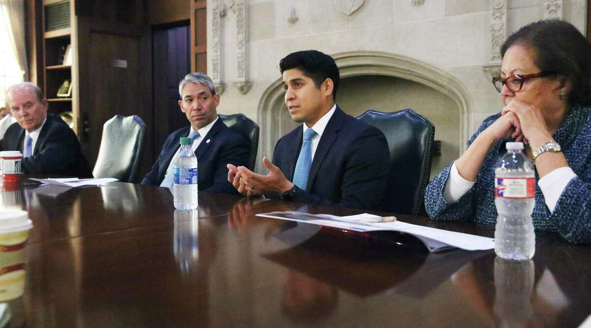 Nelson Wolff, from left, Ron Nirenberg, Rey Saldana and Hope Andrade speak with the Express-News Editorial Board on Wednesday.