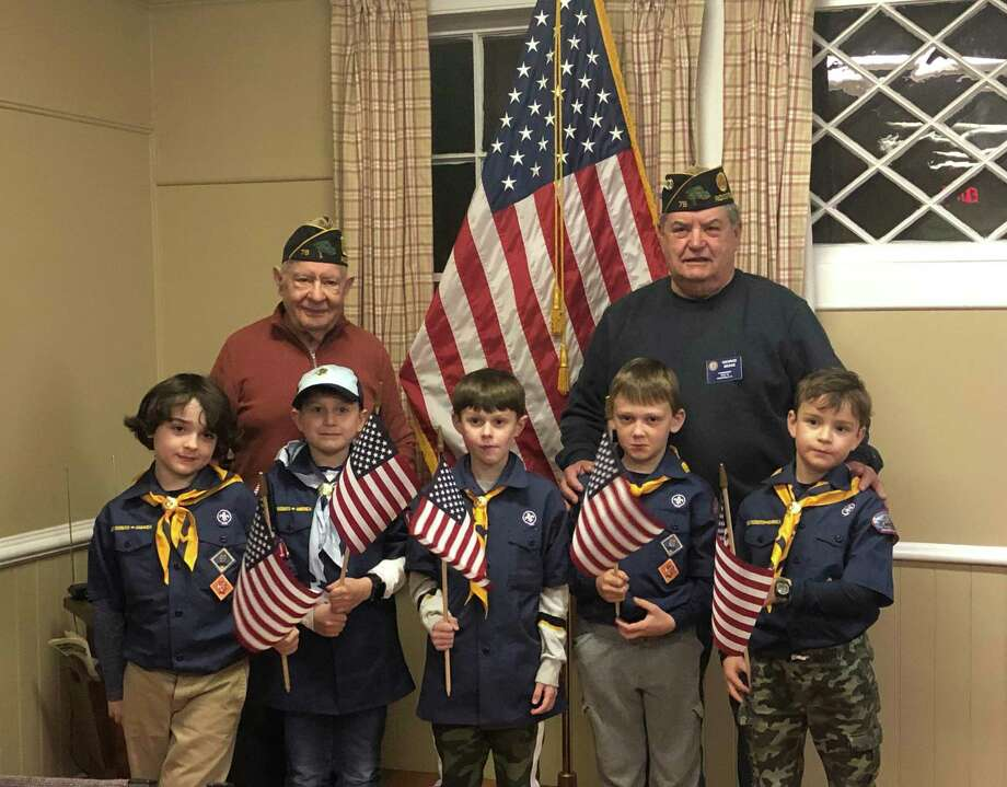 Branchville Elementary Pack 126 held their monthly meeting at the American Legion Post 78 where they learned about proper care of our flag, the correct way to display and the retirement of un-serviceable flags. They also were shown how to properly way to fold the flag for storing and or presentation to a family for Military Honors. Commander Besse found the scouts to be very knowledgeable and interested young men. Pictured from left to right are scouts: Holden Peck, Winston Olenchock, Adam Olenchock, Bobby Sommerer and Winston Eide, standing in front of Legion Finance Officer Doug Clewell and Commander George Besse. Photo: Contributed Photo