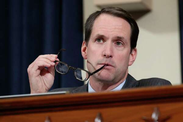 Rep. Jim Himes, D-Conn., questions top U.S. diplomat in Ukraine William Taylor, and career Foreign Service officer George Kent, at the House Intelligence Committee hearing on Capitol Hill in Washington, Wednesday, Nov. 13, 2019, during the first public impeachment hearing of President Donald Trump's efforts to tie U.S. aid for Ukraine to investigations of his political opponents.