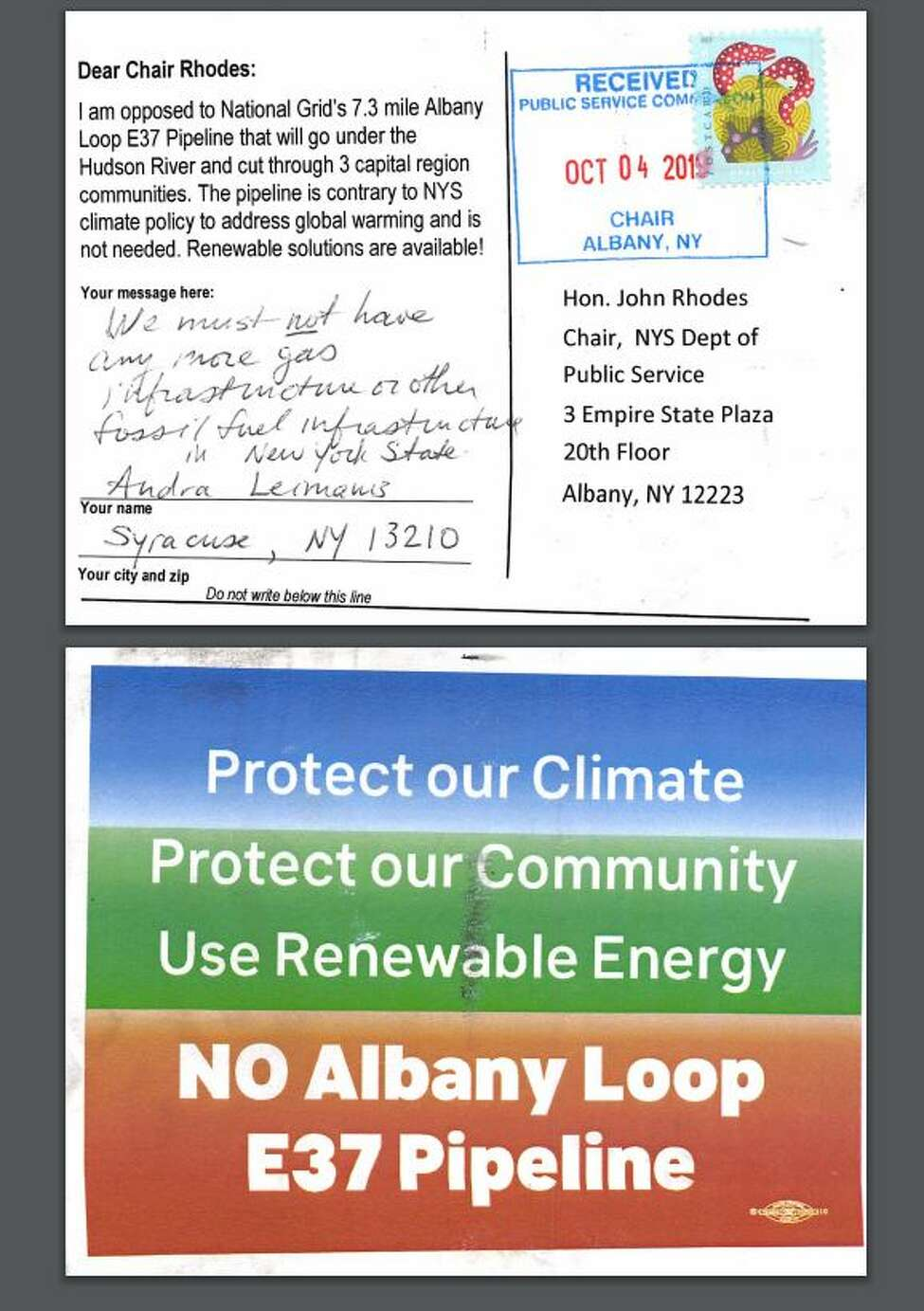 A generic post card opposing National Grid's E37 pipeline that environmental activists have been having supporters submit to the state Public Service Commission. National Grid has urged its own supporters in the business community to submit customized form letters to the PSC as well in support of the project