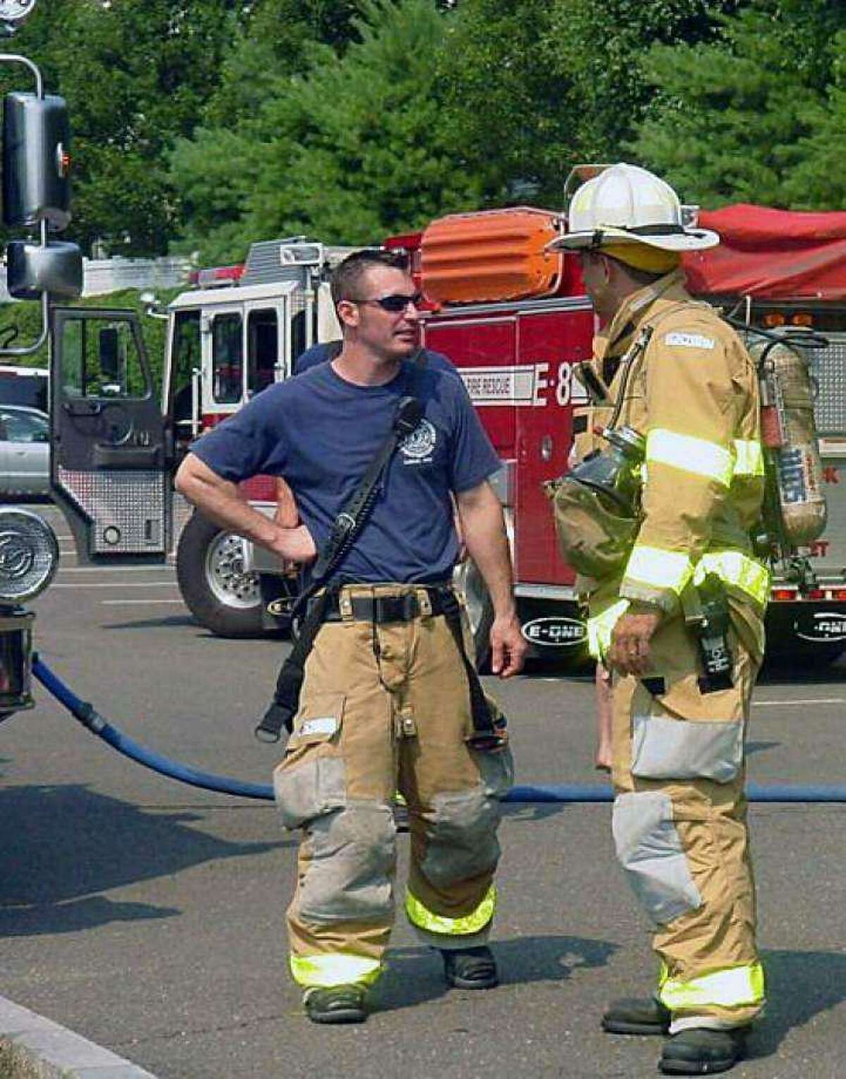 Robert Despres, left, is career firefighter at the North Street station.