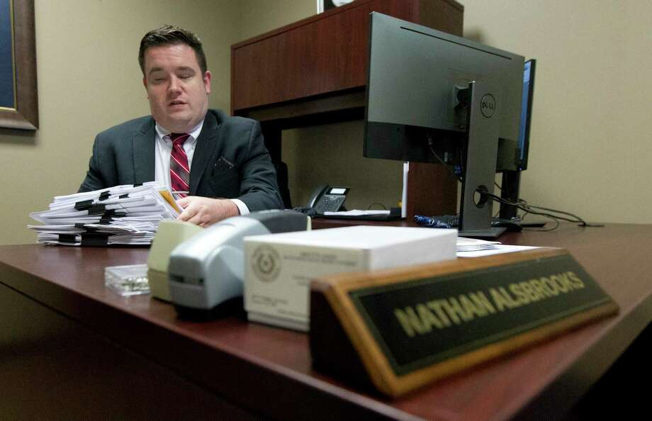Montgomery County Assistant District Attorney Nathan Alsbrooks prosecuted a fuel thief getting $5,000 in restitution for Precinct 4. Photo: Jason Fochtman, Houston Chronicle / Staff Photographer / © 2019 Houston Chronicle