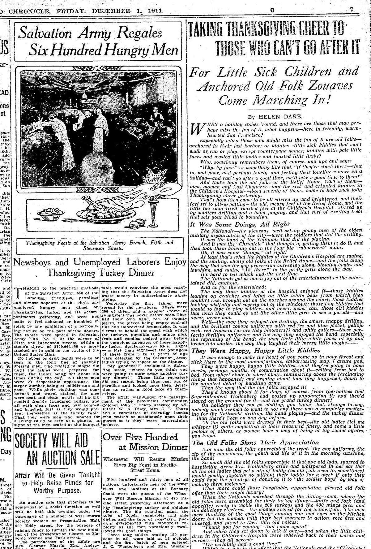 The Chronicle December 1, 1911 coverage of people in San Francisco and the Bay Area celebrating Thanksgiving