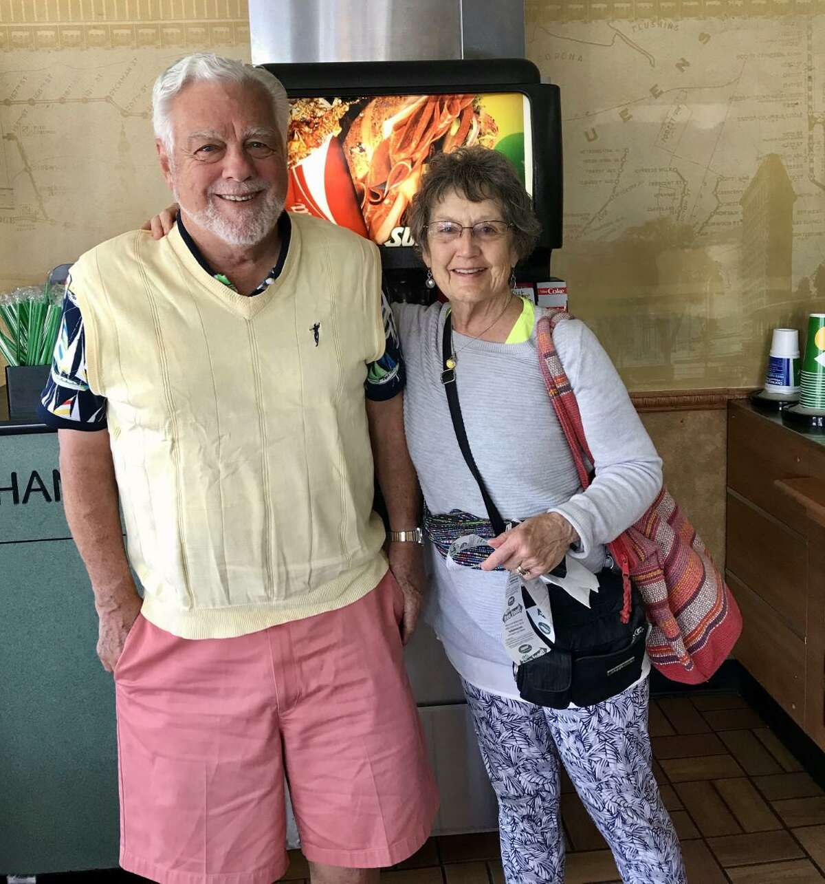 Christine and Dave Cummings, photographed in a Subway restaurant during their cross-country trip in May from California to Connecticut.