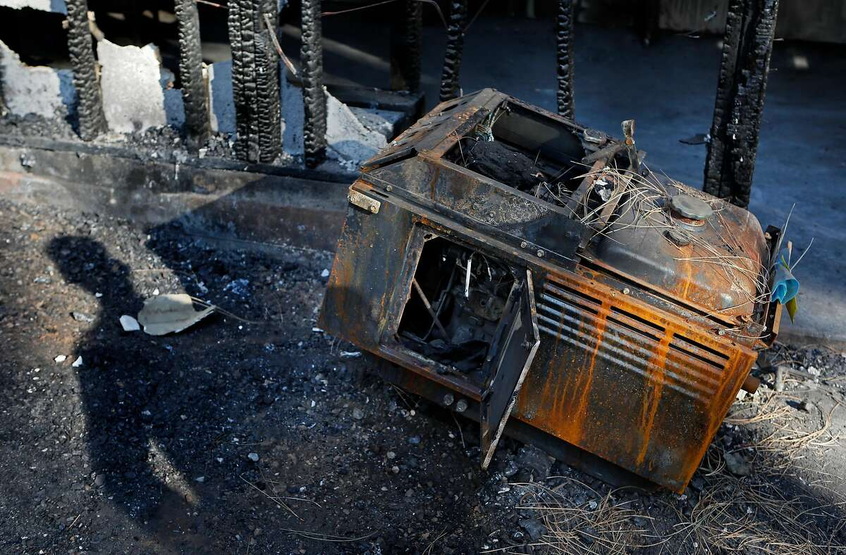 The emergency generator which sparked a fire that damaged the home�s garage and attic of Art Bern Sr. and his wife during a PG&E power shut off in late September, in Grass Valley, Ca. as seen on Friday Nov. 8, 2019.