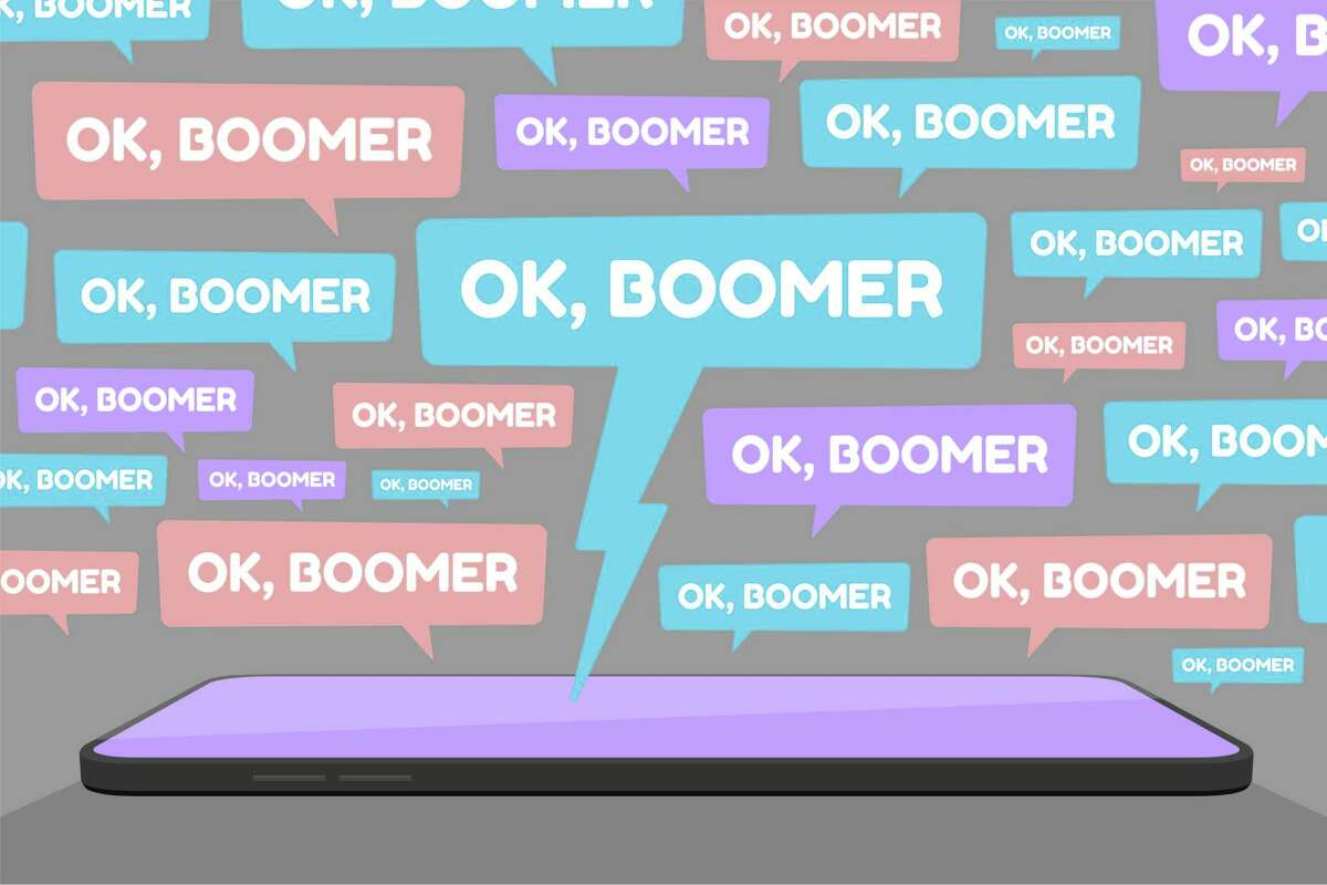 Vector illustration of smartphone and multiple OK Boomer chat bubbles represents social media conflict between baby boomers and younger generation Z and millennial, ignited by popular memes.