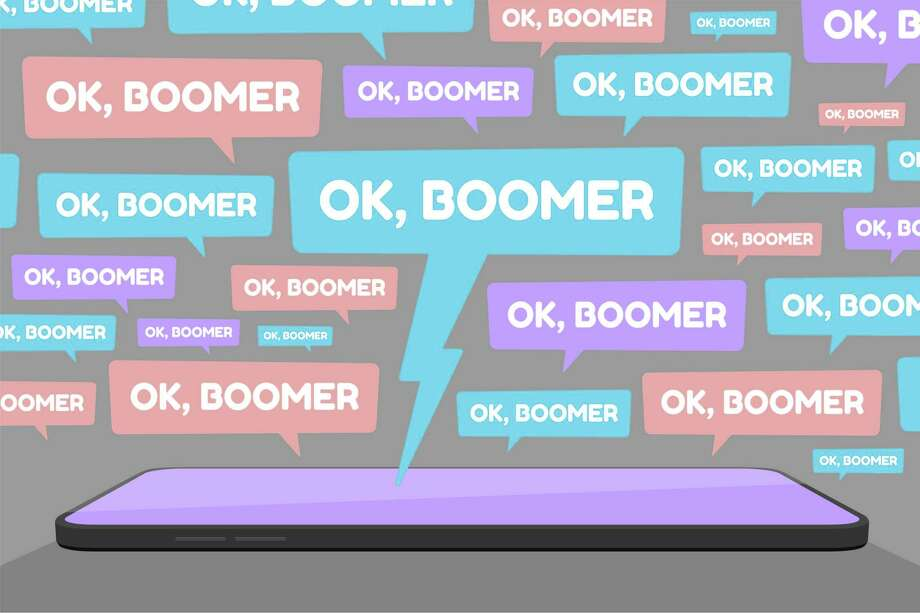 Vector illustration of smartphone and multiple OK Boomer chat bubbles represents social media conflict between baby boomers and younger generation Z and millennial, ignited by popular memes. Photo: Amarit Opassetthakul / iStockphoto