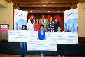 Pictured are the three winners of the 2019 Liftoff Houston business plan competition. Pictured front left is Day Edwards, founder of Church Space, front center is Sherhara Downing, founder of Level Comm, and front right is Chrishaunta Joseph, founder of Hello PCOS.