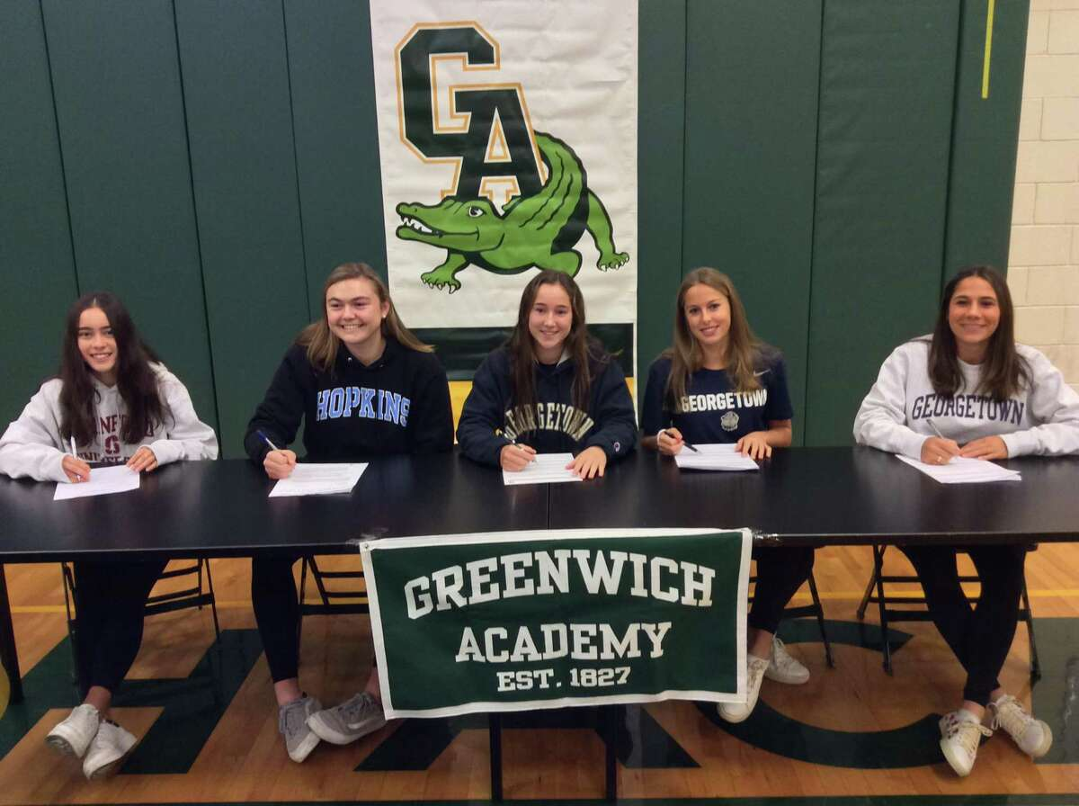 Five Greenwich Academy athletes signed National Letters of Intent to compete in their respective sports at the Division I Level. The group that signed at a ceremony on Wednesday, November 13, 2019, at Greenwich Academy included, from left to right: Emma Carney (Stanford squash), Eliza Bowman (Johns Hopkins lacrosse), Tessa Brooks (Georgetown lacrosse), Katie Goldsmith (Georgetown lacrosse) and Katharine Glassmeyer (Georgetown field hockey).